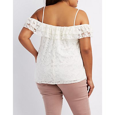 Plus Size Lace Cold Shoulder Top