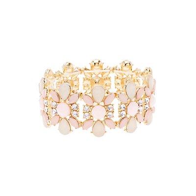 Flower Gemstone Stretch Cuff Bracelet