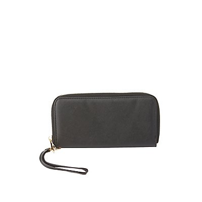 Faux Leather Wristlet Wallet