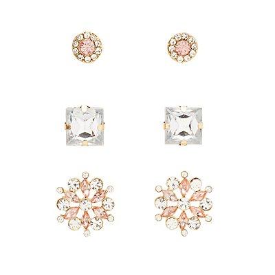 Faceted Stone Stud Earrings - 3 Pack
