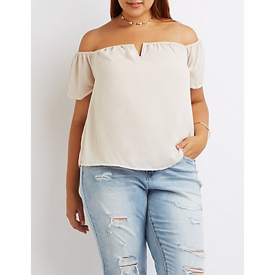 Plus Size Off-The-Shoulder Notched Top