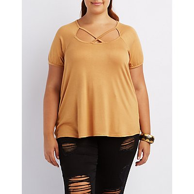 Plus Size Caged Tee