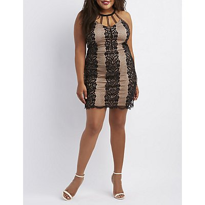 Plus Size Printed & Caged Bodycon Dres