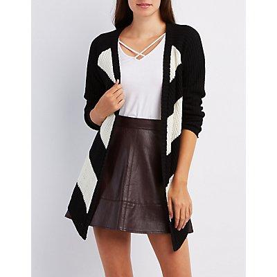 Chevron Shaker Knit Cardigan