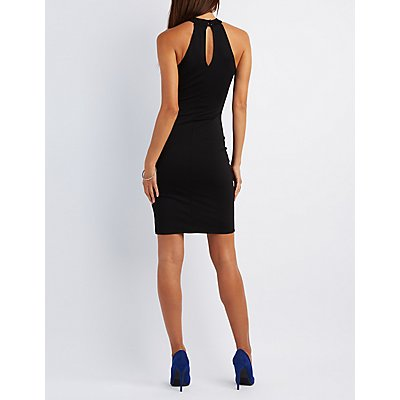 Embellished Mock Neck Bodycon Dress