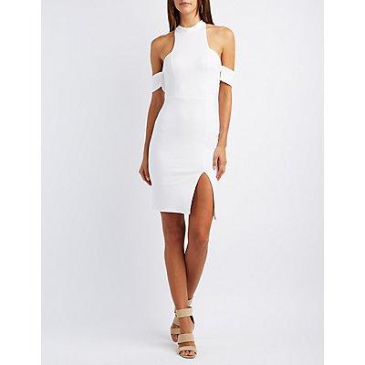 Mock Neck Cold Shoulder Bodycon Dress