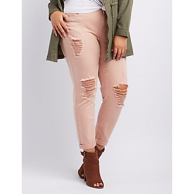 "Plus Size Refuge ""Crop Boyfriend"" Destroyed Jeans"