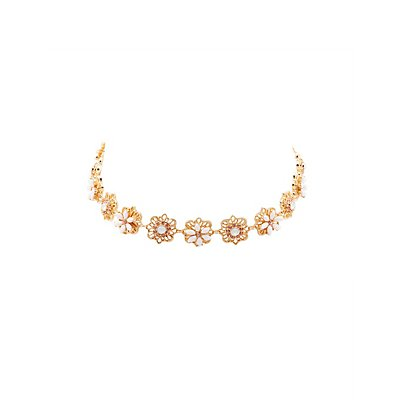 Floral Filigree & Stone Choker Necklace