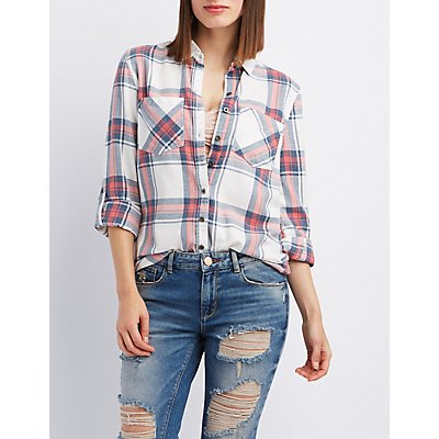 Plaid Flannel Button-Up Shirt