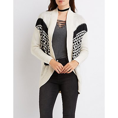 Patterned Open Cocoon Cardigan
