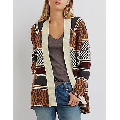 Mixed Pattern Open Cardigan