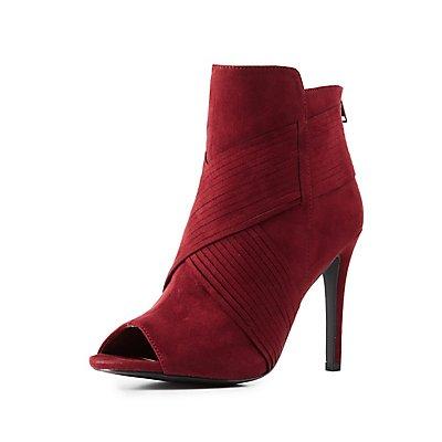 Textured Stiletto Ankle Booties