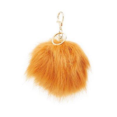 Faux Fur Ball Keychain