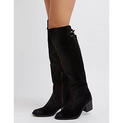 Qupid Faux Suede Buckled Boots