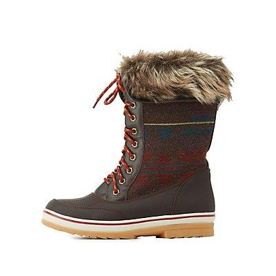 Faux Fur-Cuffed Duck Boots
