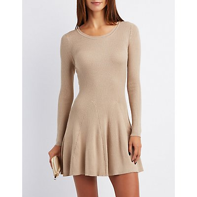Ribbed Scoop Neck Skater Dress