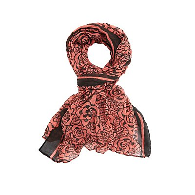 Rose Print Woven Scarf