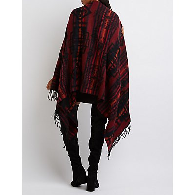 Aztec Toggle Poncho Sweater