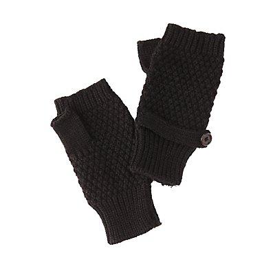 Fingerless Waffle Knit Mittens