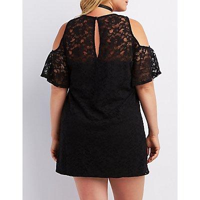 Plus Size Lace Cold Shoulder Shift  Dress