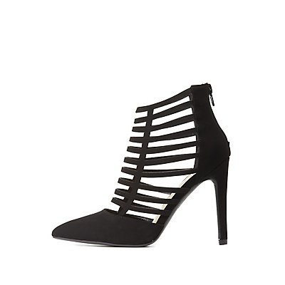 Caged Pointed Toe Heels