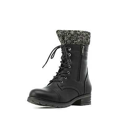 Knit-Trim Combat Boots