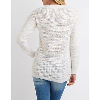 Fuzzy V-Neck Oversized Sweater