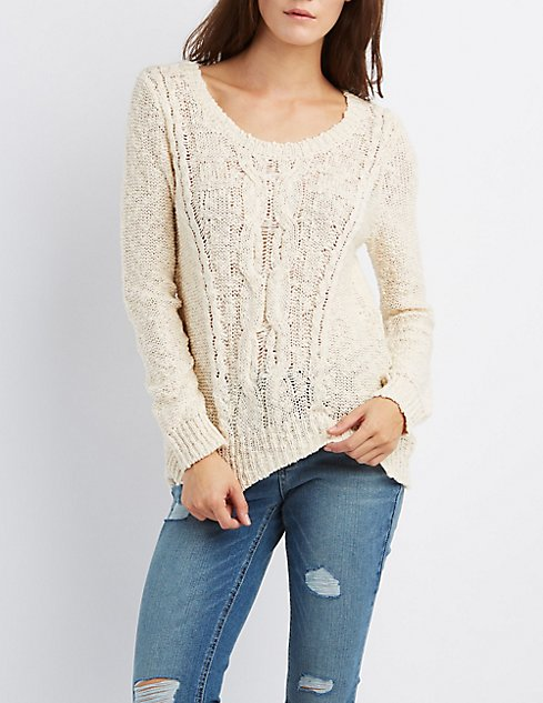 Chunky Cable Knit Sweater Charlotte Russe