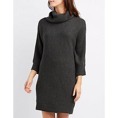 Cowl Neck Dolman Sweater Dress