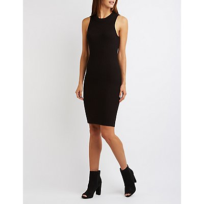 Ribbed Cut-Out Back Midi Dress