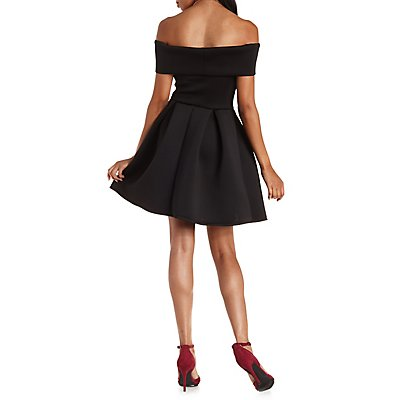 Off-the-Shoulder Pleated Skater Dress