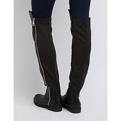 Bamboo Chunky Zipper Over-The-Knee Boots