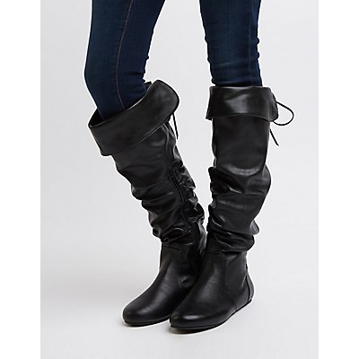 Bamboo Slouchy Knee-High Boots