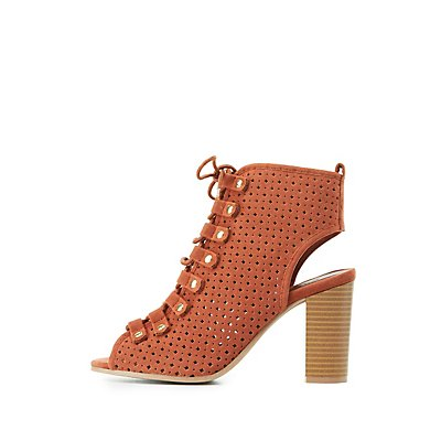 Qupid Perforated Lace-Up Sandals