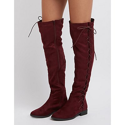 Lace-Up Side Over-The-Knee Boots