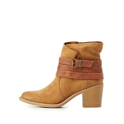 Qupid Wrapped Buckle Ankle Booties