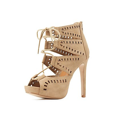 Laser Cut Lace-Up Dress Sandals