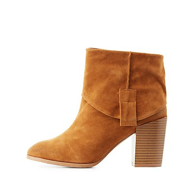 Qupid Foldover Ankle Booties