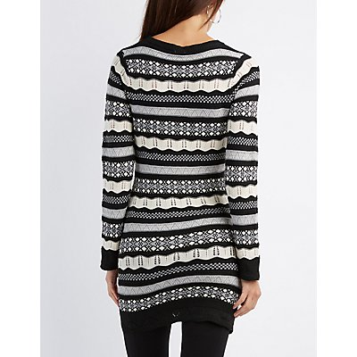 Striped Pointelle Tunic Sweater