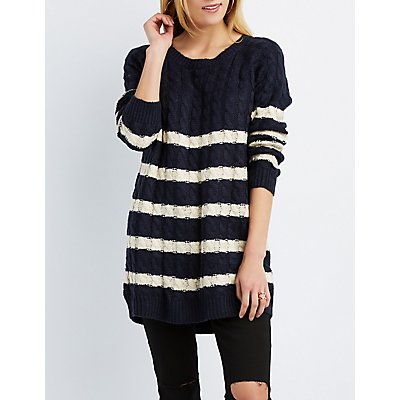 Striped Cable Knit Tunic Sweater