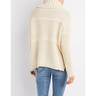 Turtleneck Mixed Knit Sweater