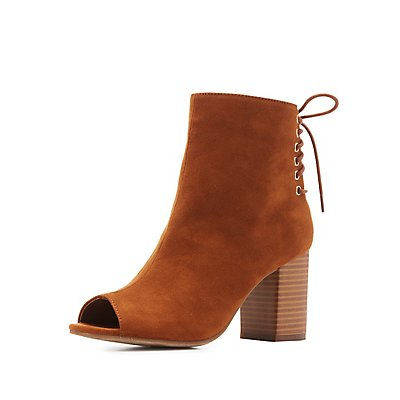 Lace-Up Back Peep Toe Booties