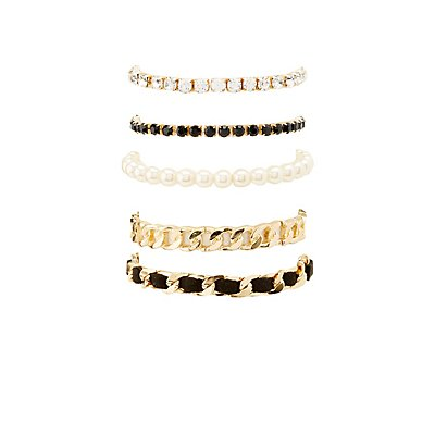 Mixed Chain & Beaded Bracletes - 5 Pack