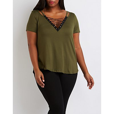 Plus Size Lace-Up Strappy Tee