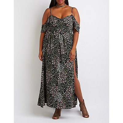 Plus Size Floral Cold Shoulder Maxi Dress