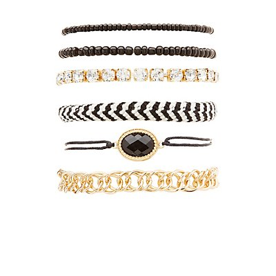 Woven, Beaded & Chainlink Layering Bracelets - 6 Pack