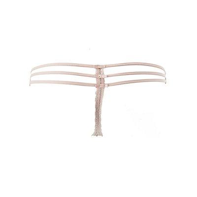 Caged Sheer Lace Thong Panties