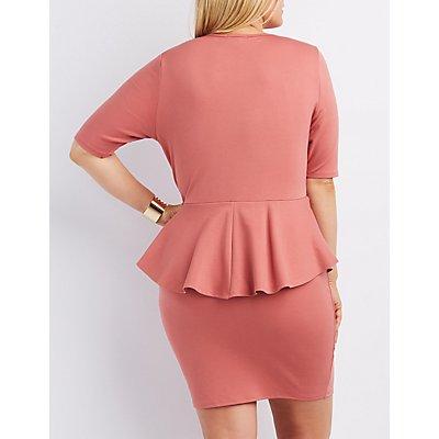 Plus Size Strappy Peplum Dress