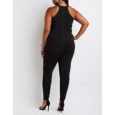 Plus Size Mock Neck Lattice Jumpsuit