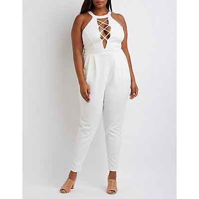 Plus Size Mock Neck Lattice Jumpsuit